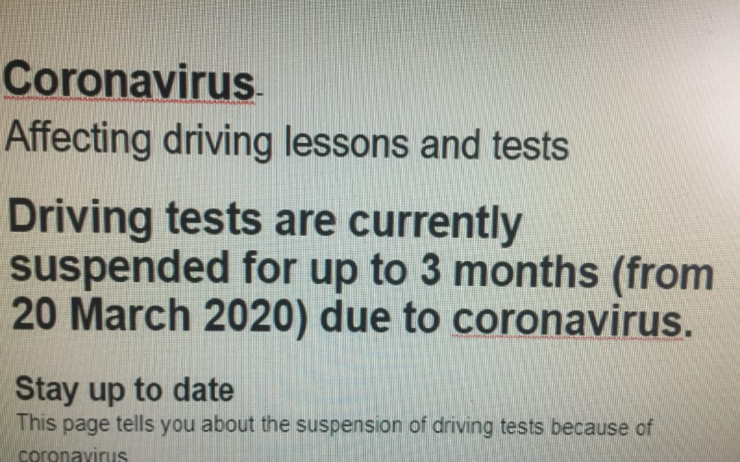 Coronavirus is affecting driving lessons & tests